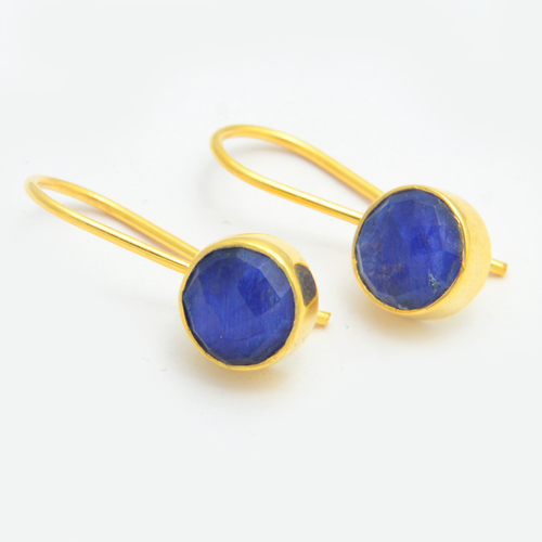 Gold Plated Blue Sapphire Earring