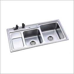 Double Bowl Corner Kitchen Sinks with Drain Board
