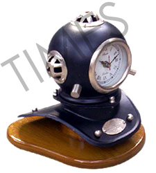 Nautical Brass Helmet Table Clock