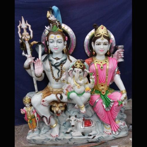 Marble Shiv Parwati Ganesh Statue