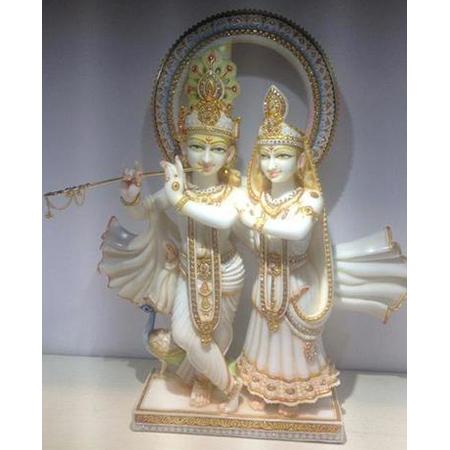 Marble Radhe Shyam With Golden Basuri