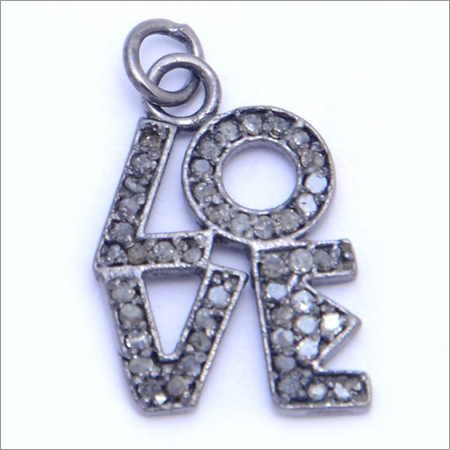Pave Set Diamond Love Charm Pendant