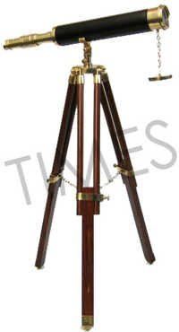 Antique Nautical Black Telescope With Stand