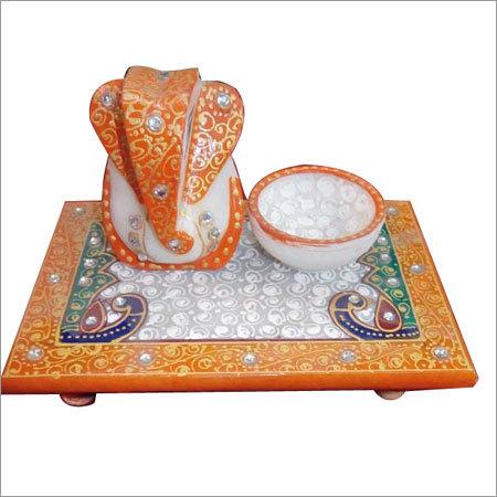 Marble Handicraft- Chauki Ganesh Deepak