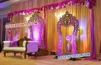 Wedding Stage Temple Shape Carved Back Frames