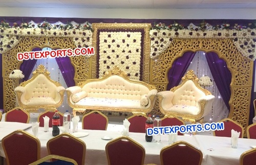 Muslim Wedding Stage With Golden Backwalls