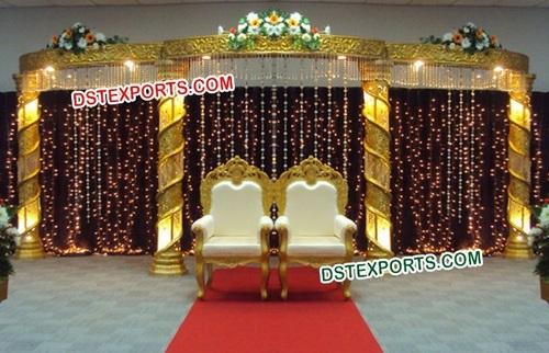 MUSLIM Wedding Stage With Gold Crystal Pillars