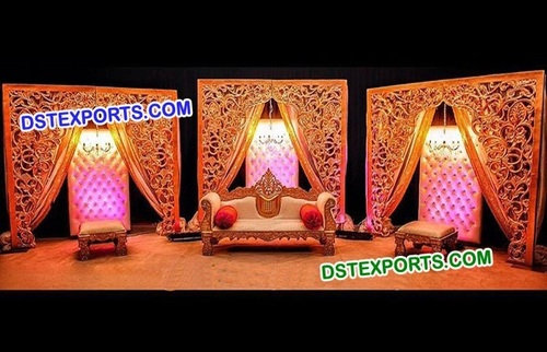 Muslim Wedding Golden Carved Fiber Back Walls