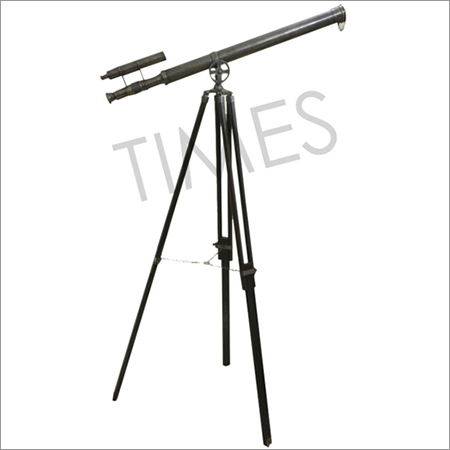 Antique Telescope Double Barrel With Wooden Tripod