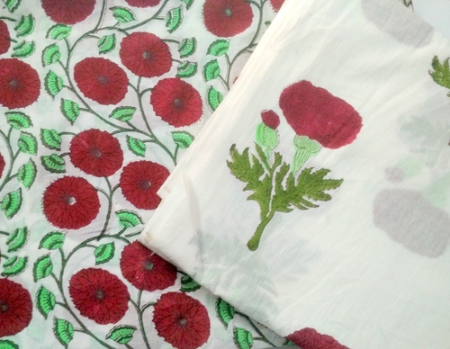 Hand Block Flower Printed cotton Fabric
