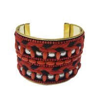 Red Glass Beads Thread Beaded Bracelet
