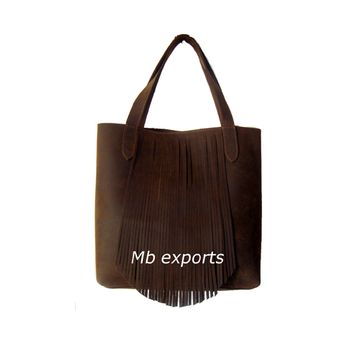Fringe leather tote