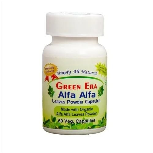 Organic Alfa Alfa Leaves Powder 60 Veg Capsules Bottle