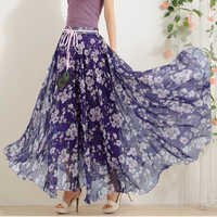 Fancy Flower Print Long Skirt