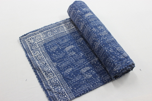 Designer Kantha Bed cover INDIGO BLUE