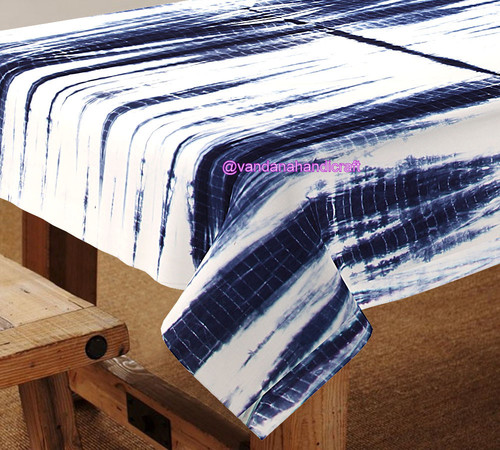 Block Printed Table Covers TIE DYE SHIBORI TABLE COVER