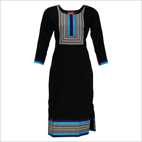 Black Straight Cotton Kurta