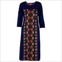 Blue Floral Printed Cotton Kurta
