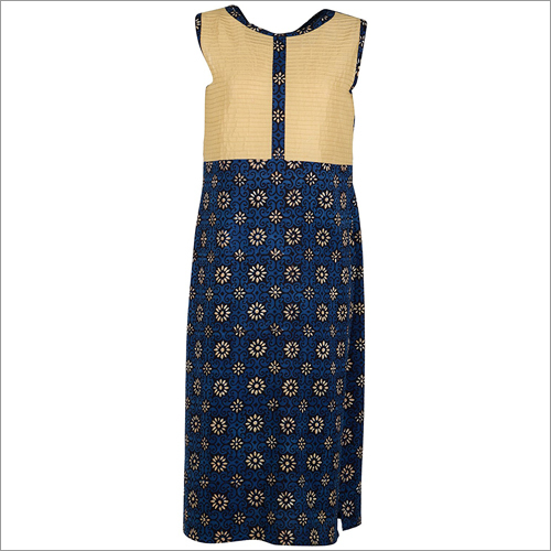 Blue Printed Half Sleeve Kurta With Pin- Tucks