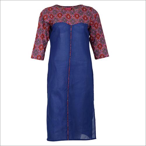 Blue Printed Straight Cotton Kurta