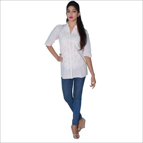 Elegant White Chikan Shirt