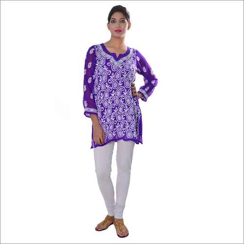 Purple Georgette Short Chikan Kurti