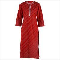 Red Cotton Kurta With Diagonal Stitching Lines