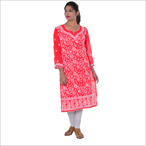 Reg Georgette Fully Embroidered Chikan Kurta