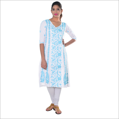 Sky Blue Cotton Angrakha With Chikan Work