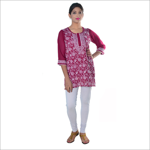 Wine Coloured Short Georgette Kurti With Chikan Work