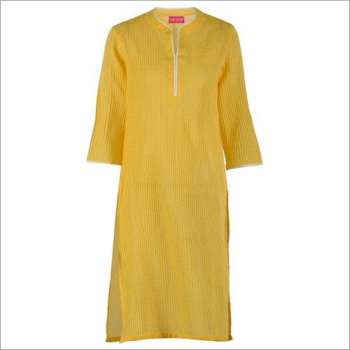 Yellow Straight Pin-tucks Cotton Kurta