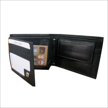 Mens Trifold Black Leather Wallet