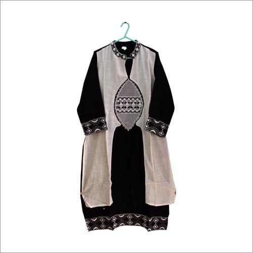 Black And White Embroidered Kurti