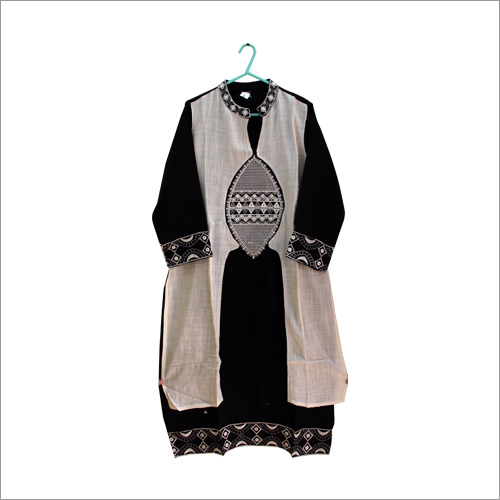 Black And White Embroidered Kurti