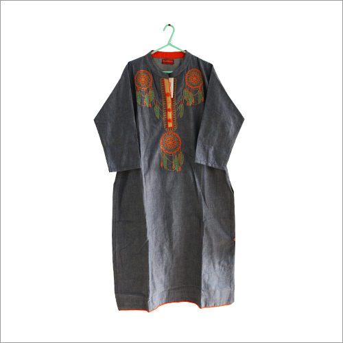 Denim Embroidered Kurti