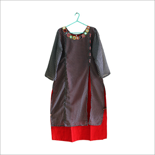 Mirror Work Double Layered Kurti