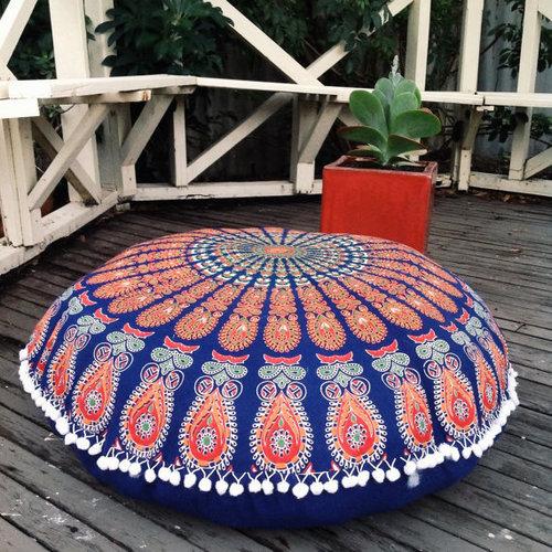 Round Cushion Ottoman Pouf Cover