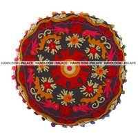 Embroidered Round Printed Cushion Cover