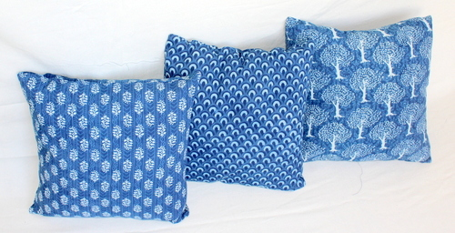 Hand Block Printed Indigo Cushion Covers