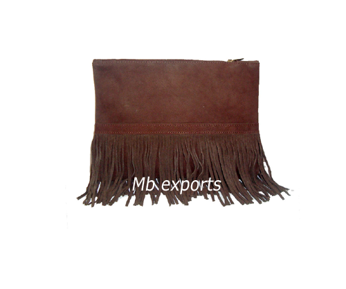 Leather fringe clutch Bag