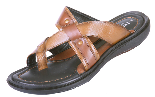 Black Rugged Leather Chappal