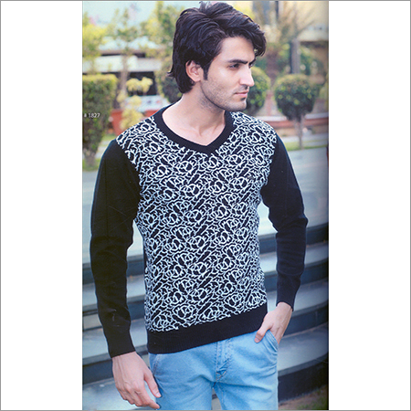 Mens Black Flat Knit Full Sleeve T-Shirt
