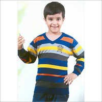 V Neck Kids Flat Knit SweatShirt
