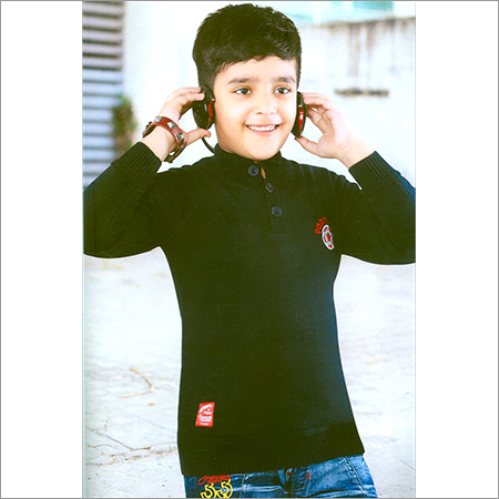 Kids Flat Knit Black SweatShirt