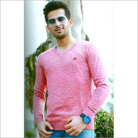 Flat Knit Full Sleeve Pink T-Shirt