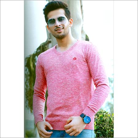 Flat Knit Full Sleeve Pink T-Shirt