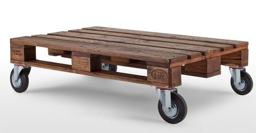 Industrial Pallet Coffee Table On Wheels