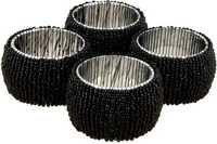 Black Glass Seed Beaded Napkin Rings Set Of 4 Pcs