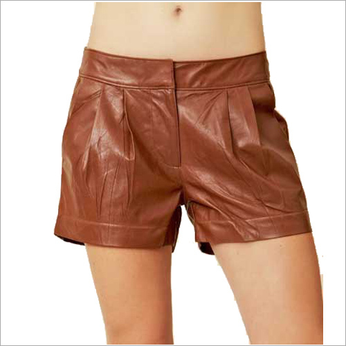 Brown Leather Ladies Shorts