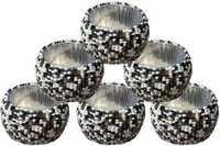 Black And White Glass Beaded Napkin Rings